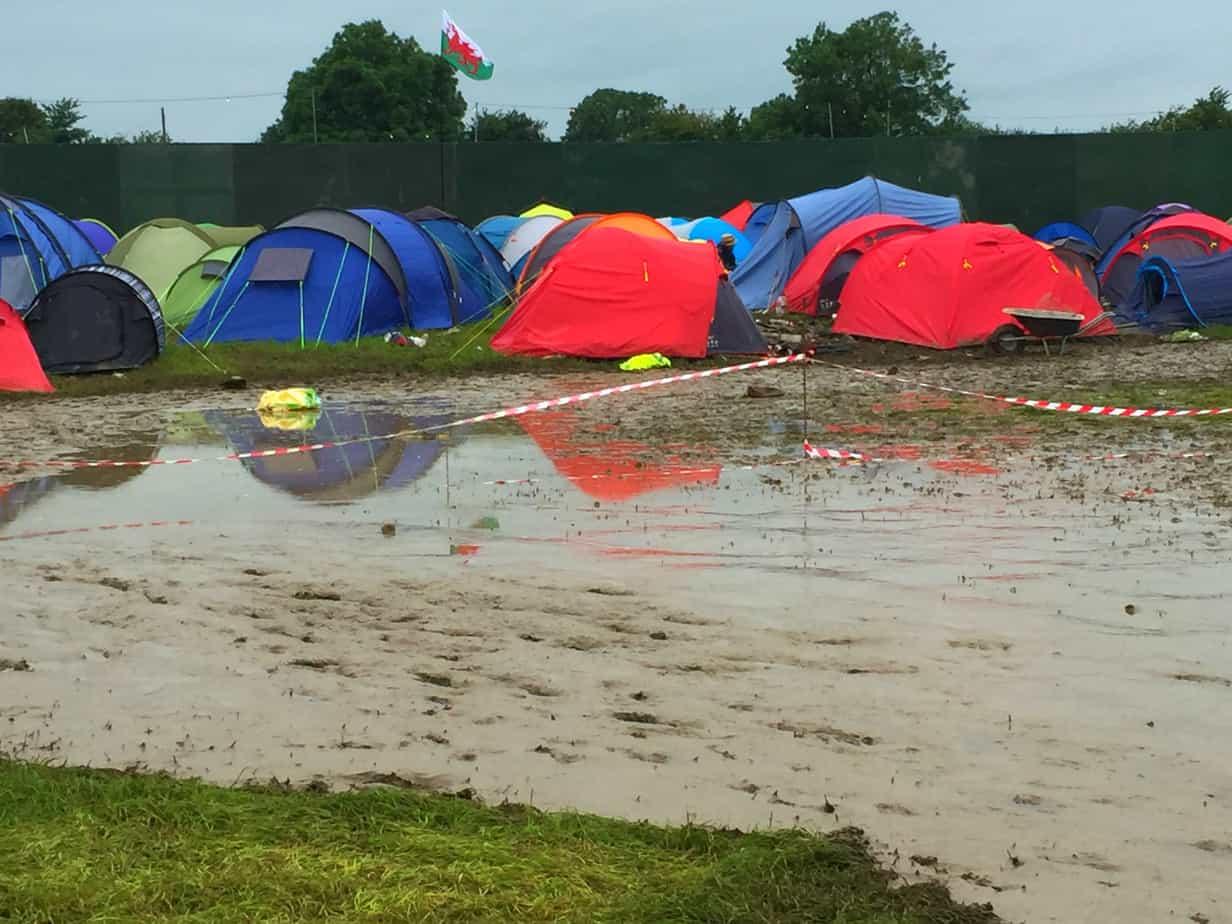 Glastonbury mud and tents