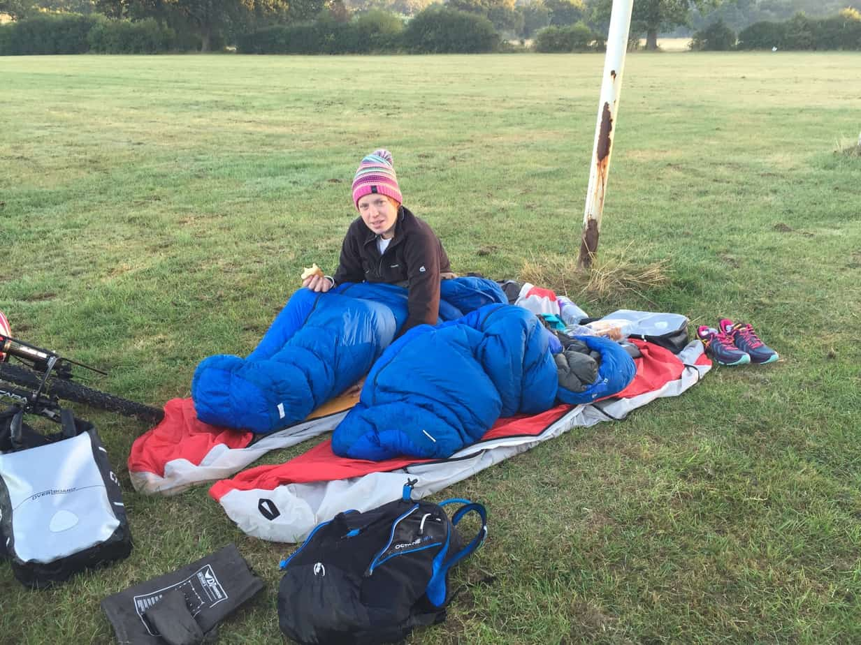 Wild camping on a rugby pitch