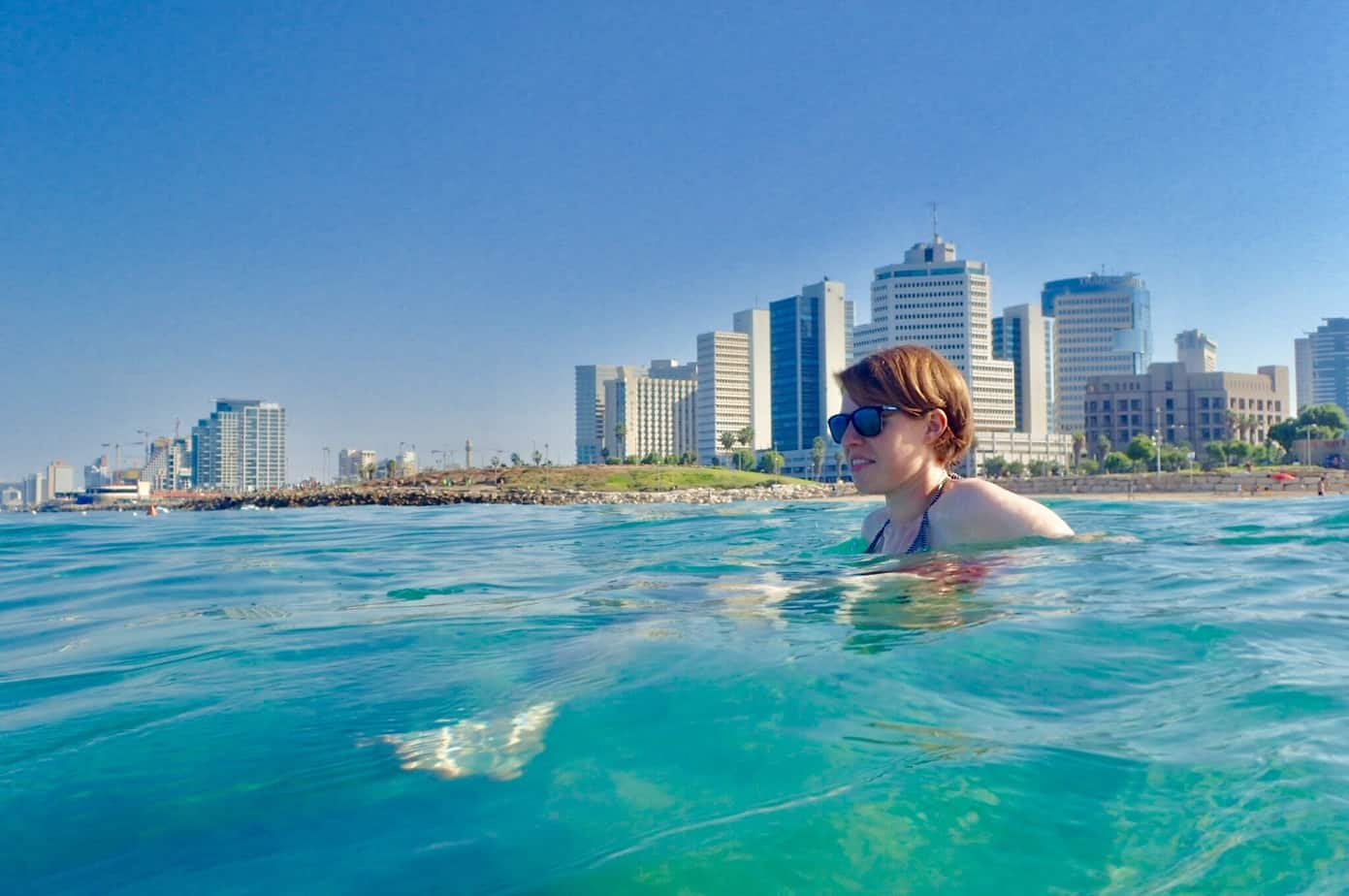Me swimming in Tel Aviv banana beach
