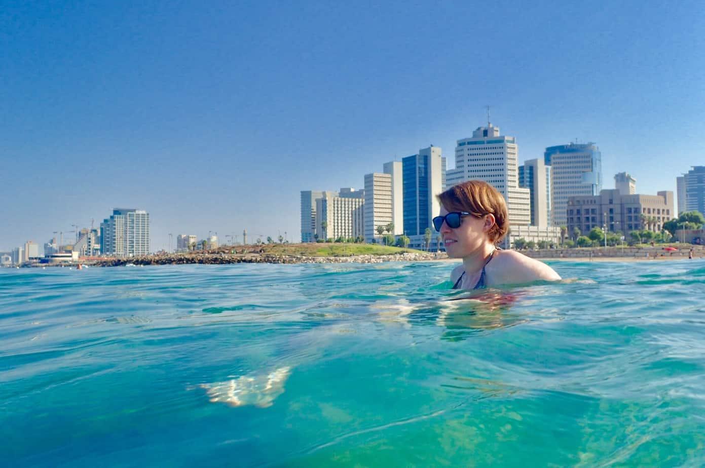 Me swimming in Tel Aviv banana beach