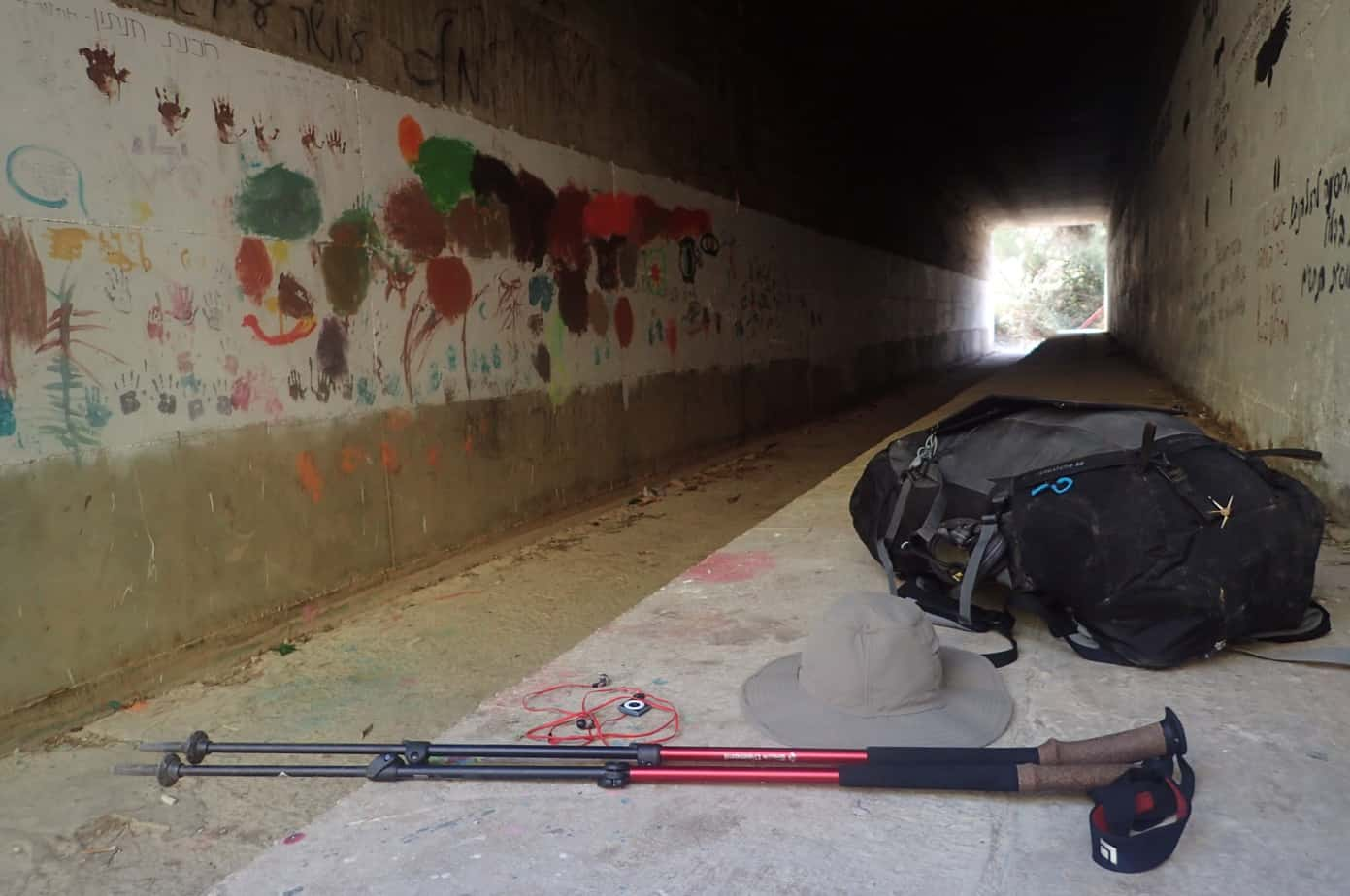 Sticks and Thule bag in a tunnel