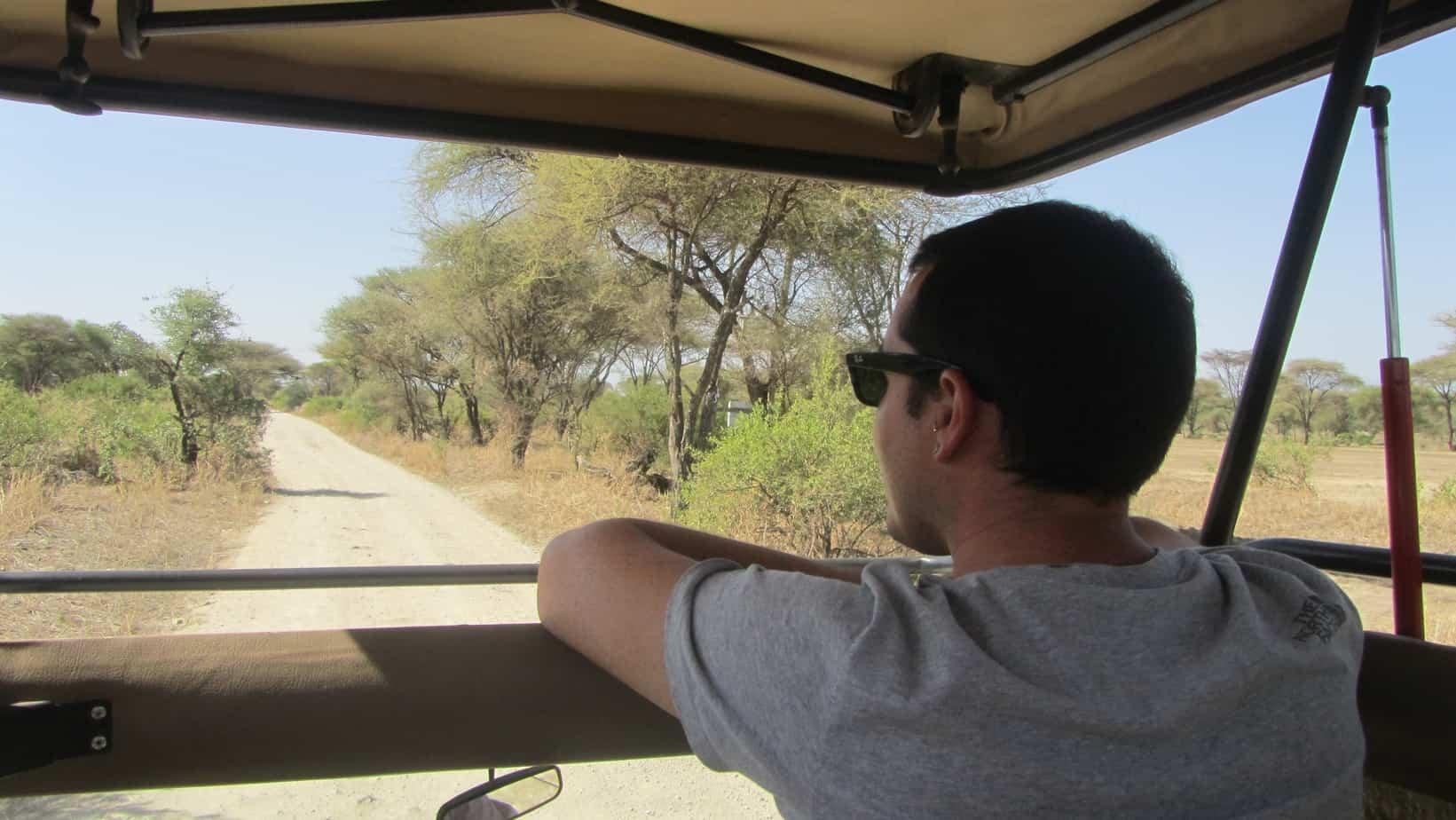 Gil in the jeep on our Tanzania safari