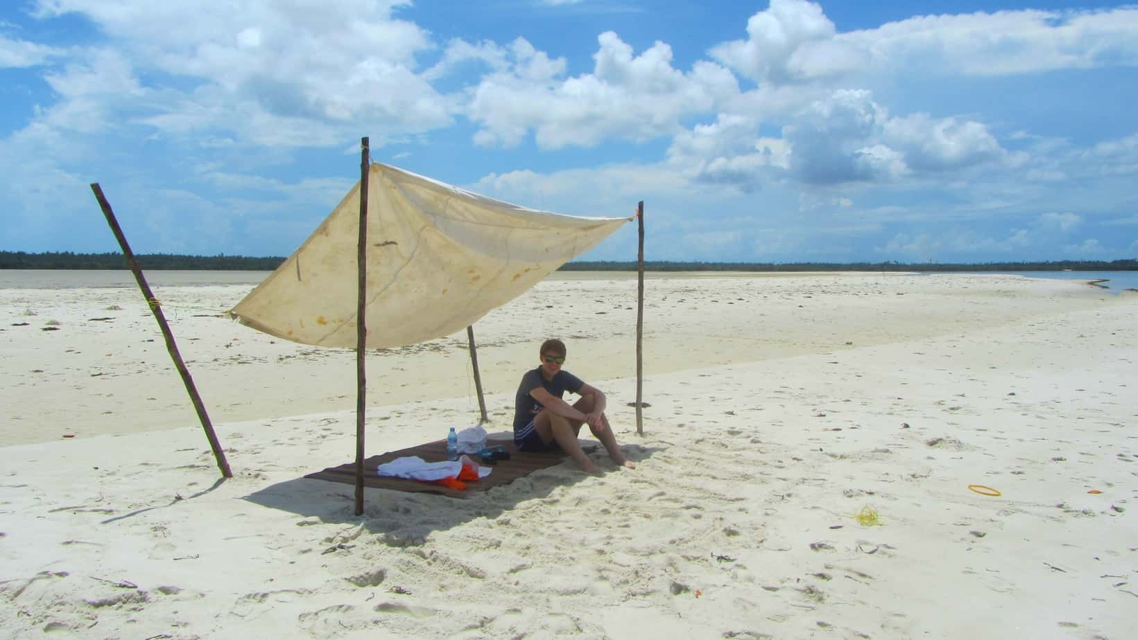 me on Mafia Island sandbank