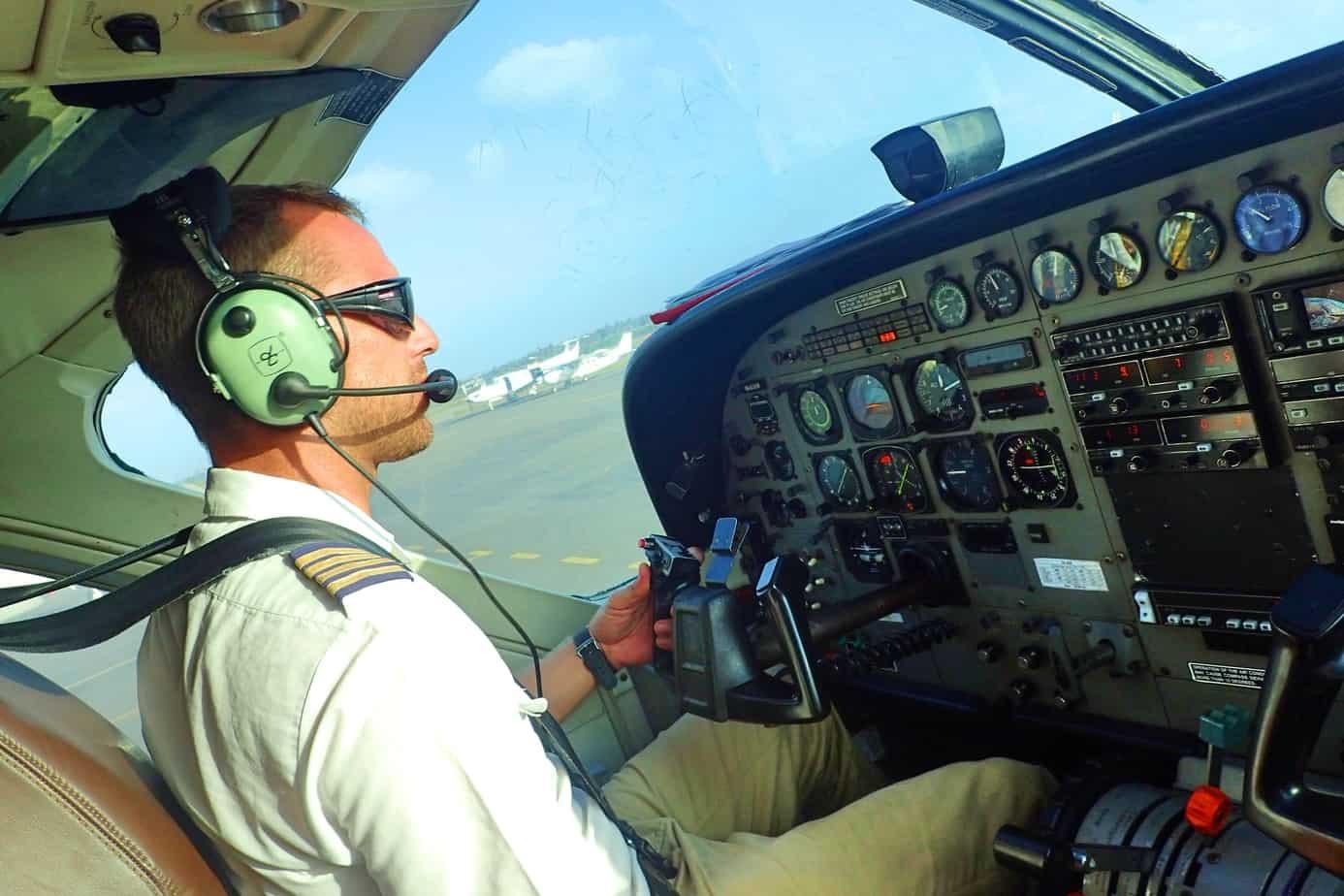 Pilot on flight to Zanzibar