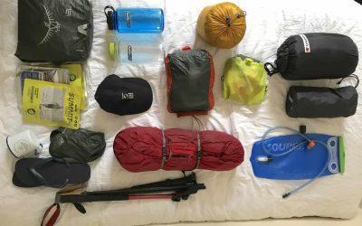 Hiking the Jordan Trail; kit list