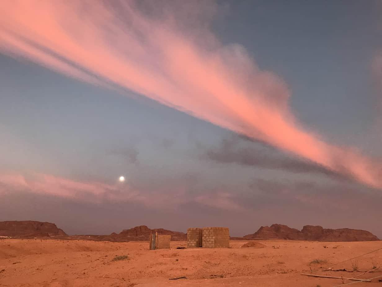 Sunset in Jordan desert